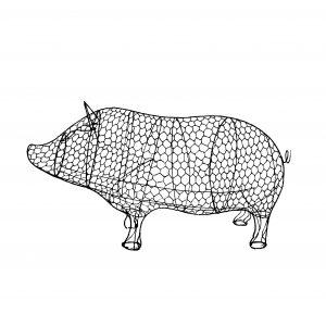 Топиар Свинья, фигура для сада